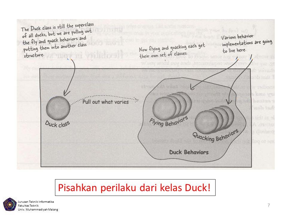 Jurusan Teknik Informatika Fakultas Teknik Univ. Muhammadiyah Malang 7 Pisahkan perilaku dari kelas Duck!