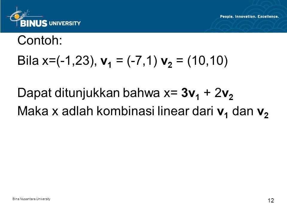 Contoh: Bila x=(-1,23), v 1 = (-7,1) v 2 = (10,10) Dapat ditunjukkan bahwa x= 3v 1 + 2v 2 Maka x adlah kombinasi linear dari v 1 dan v 2 Bina Nusantar