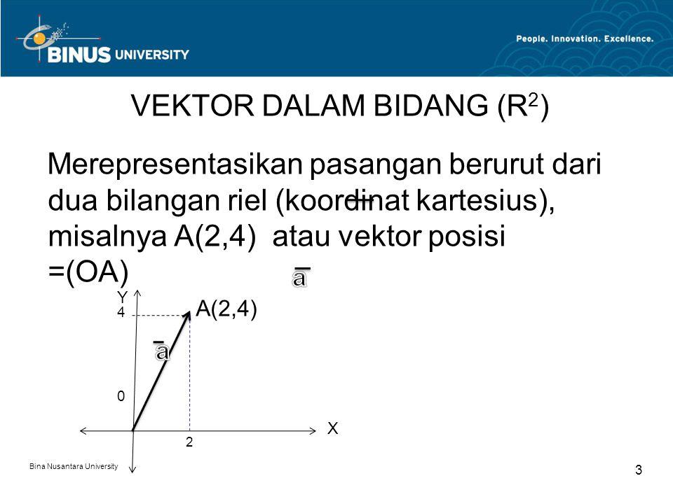 Merepresentasikan pasangan berurut dari dua bilangan riel (koordinat kartesius), misalnya A(2,4) atau vektor posisi =(OA) A(2,4) Bina Nusantara Univer