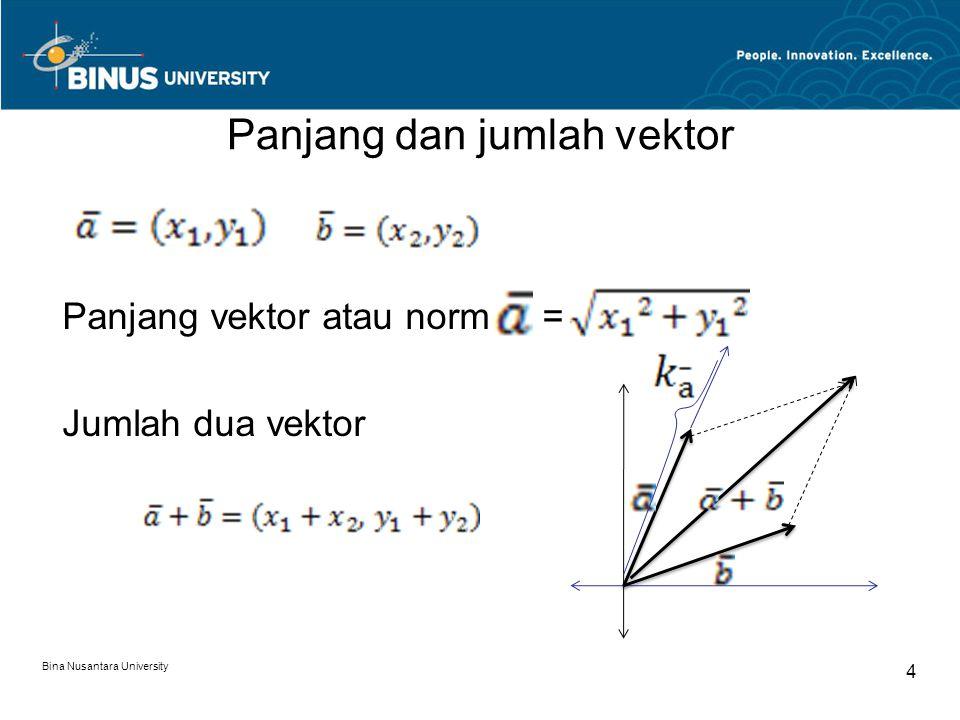 Panjang dan jumlah vektor Panjang vektor atau norm = Jumlah dua vektor Bina Nusantara University 4