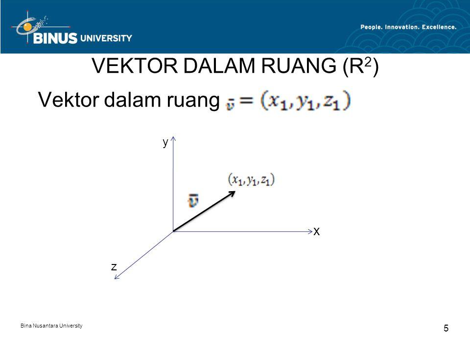 VEKTOR DALAM RUANG (R 2 ) Vektor dalam ruang Bina Nusantara University 5 y z x