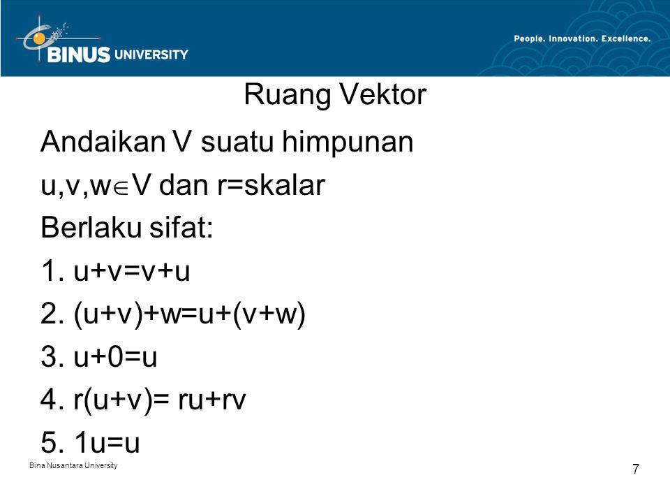 Ruang Vektor Andaikan V suatu himpunan u,v,w  V dan r=skalar Berlaku sifat: 1. u+v=v+u 2. (u+v)+w=u+(v+w) 3. u+0=u 4. r(u+v)= ru+rv 5. 1u=u Bina Nusa