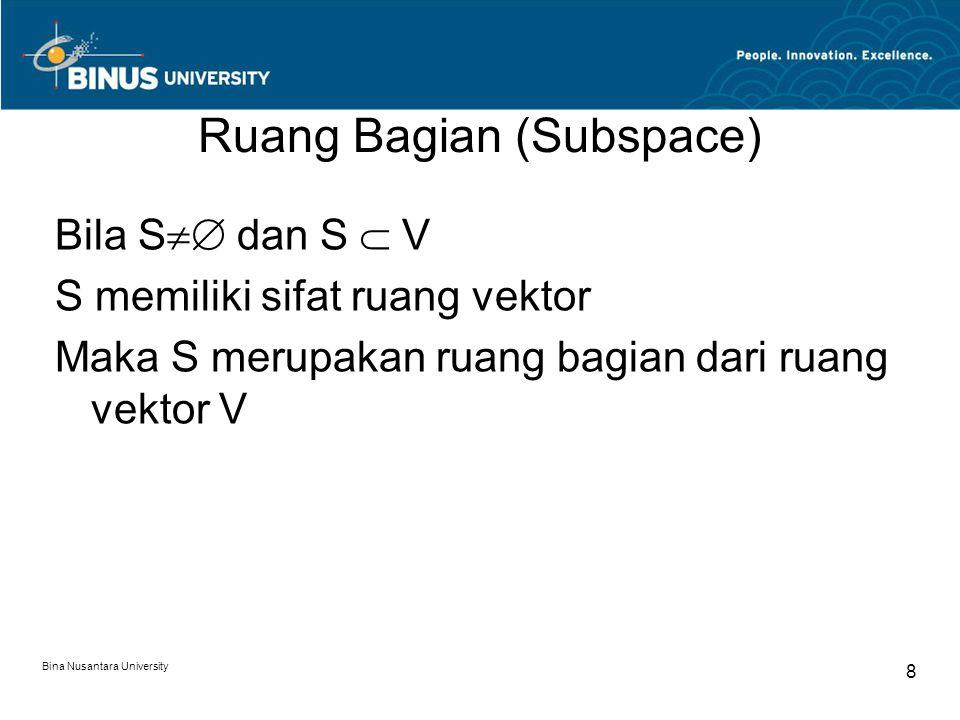 Ruang Bagian (Subspace) Bila S  dan S  V S memiliki sifat ruang vektor Maka S merupakan ruang bagian dari ruang vektor V Bina Nusantara University