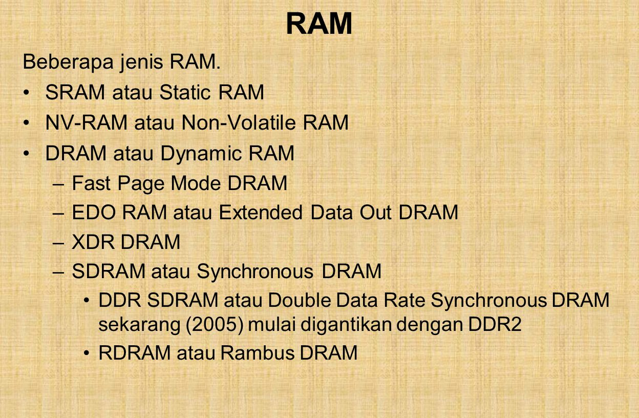 RAM Beberapa jenis RAM.