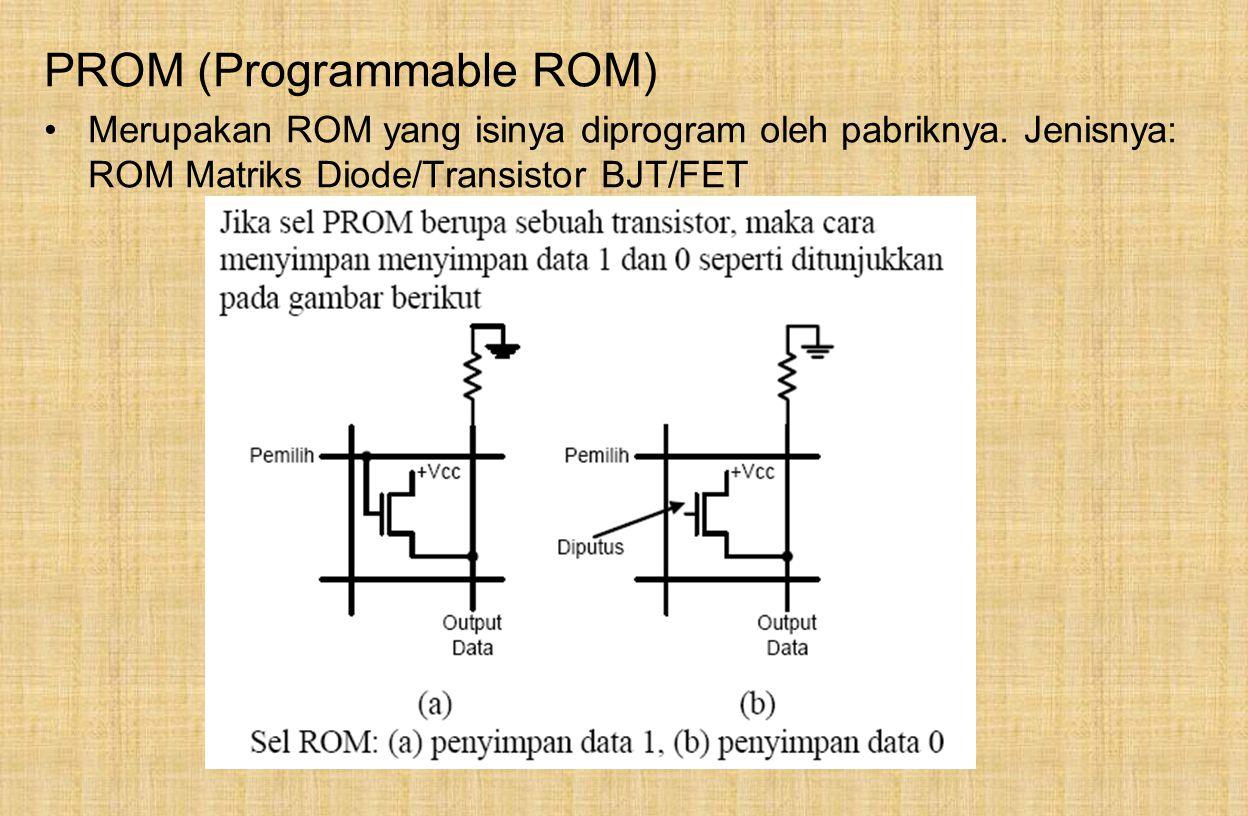 PROM (Programmable ROM) Merupakan ROM yang isinya diprogram oleh pabriknya.