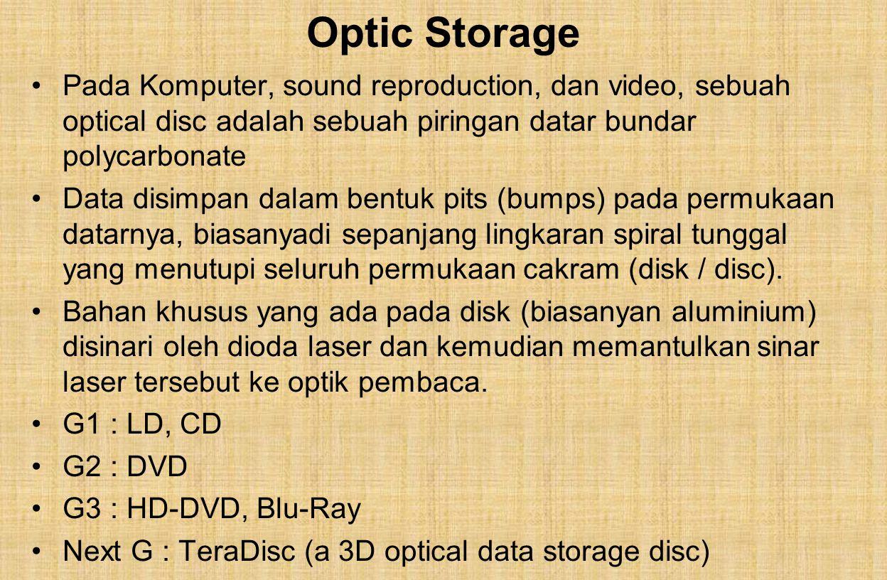 Optic Storage Pada Komputer, sound reproduction, dan video, sebuah optical disc adalah sebuah piringan datar bundar polycarbonate Data disimpan dalam bentuk pits (bumps) pada permukaan datarnya, biasanyadi sepanjang lingkaran spiral tunggal yang menutupi seluruh permukaan cakram (disk / disc).