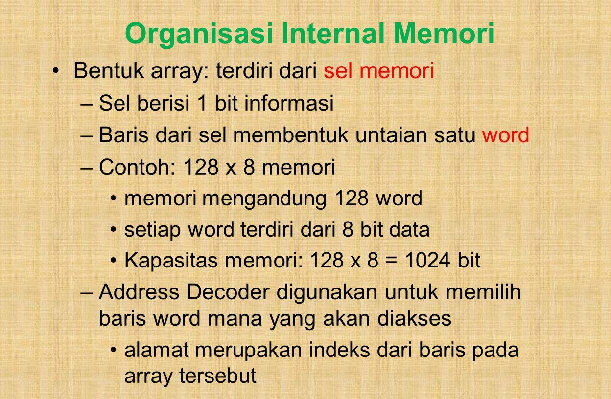 Organisasi Internal Memori Bentuk array: terdiri dari sel memori –Sel berisi 1 bit informasi –Baris dari sel membentuk untaian satu word –Contoh: 128 x 8 memori memori mengandung 128 word setiap word terdiri dari 8 bit data Kapasitas memori: 128 x 8 = 1024 bit –Address Decoder digunakan untuk memilih baris word mana yang akan diakses alamat merupakan indeks dari baris pada array tersebut