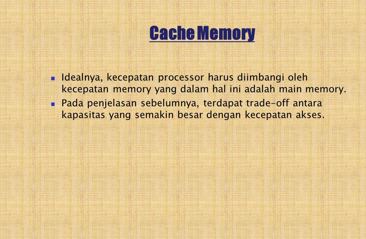 Cache Memory Idealnya, kecepatan processor harus diimbangi oleh kecepatan memory yang dalam hal ini adalah main memory.