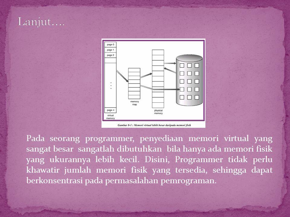 Pada seorang programmer, penyediaan memori virtual yang sangat besar sangatlah dibutuhkan bila hanya ada memori fisik yang ukurannya lebih kecil. Disi