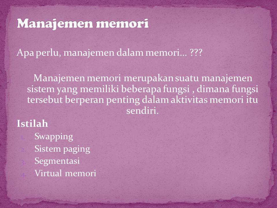 Apa perlu, manajemen dalam memori… ??? Manajemen memori merupakan suatu manajemen sistem yang memiliki beberapa fungsi, dimana fungsi tersebut berpera