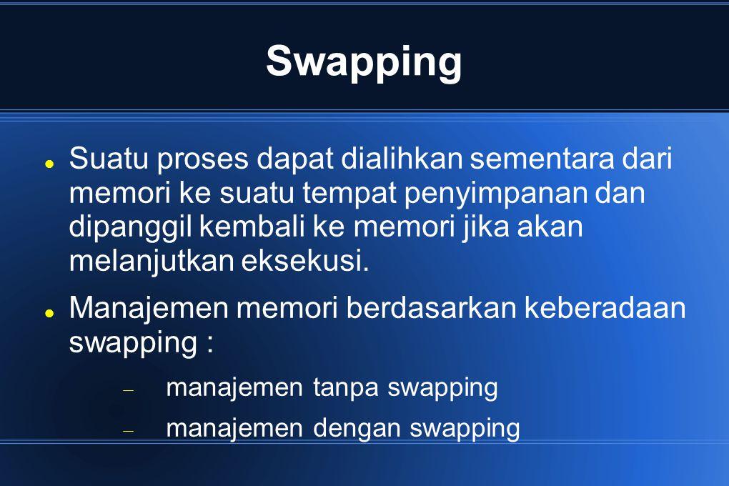 Swapping Suatu proses dapat dialihkan sementara dari memori ke suatu tempat penyimpanan dan dipanggil kembali ke memori jika akan melanjutkan eksekusi