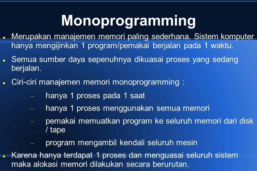 Monoprogramming Merupakan manajemen memori paling sederhana. Sistem komputer hanya mengijinkan 1 program/pemakai berjalan pada 1 waktu. Semua sumber d