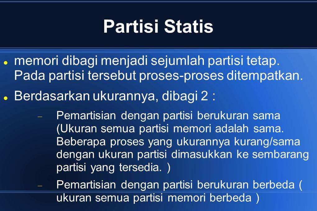 Pemartisian dengan Partisi Berukuran Sama Kelemahan : Bila program berukuran lebih besar dibanding partisi yang tersedia, maka tidak dapat dimuatkan dan dijalankan.