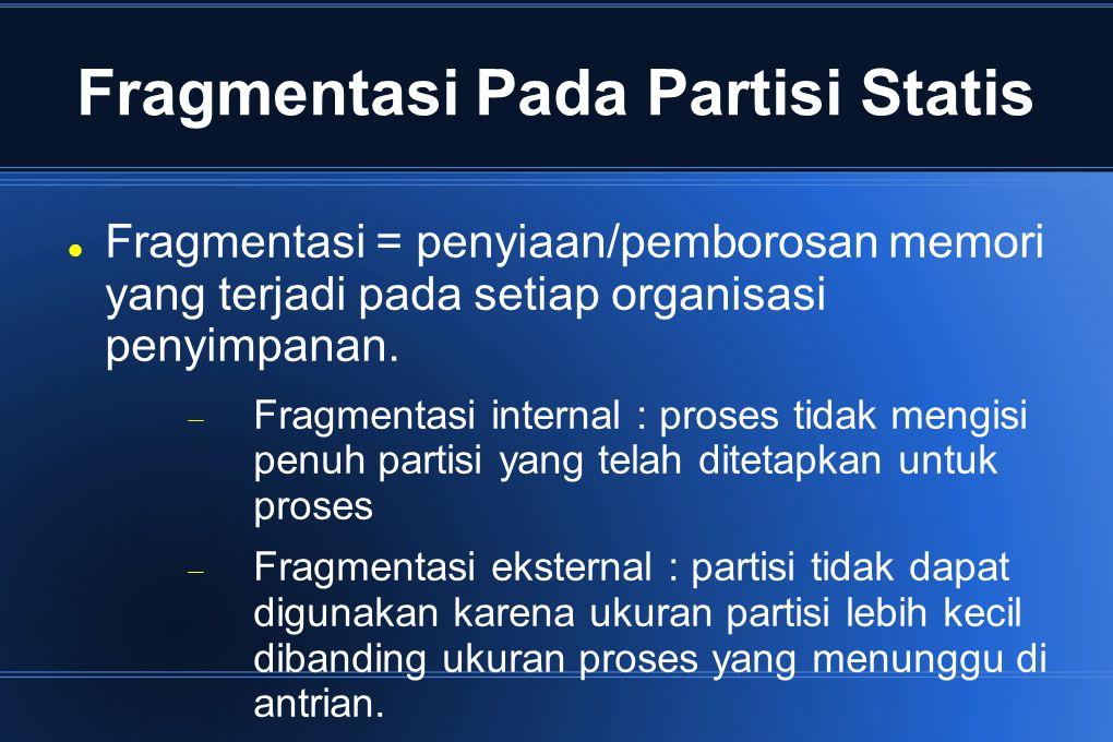 Fragmentasi Pada Partisi Statis Fragmentasi = penyiaan/pemborosan memori yang terjadi pada setiap organisasi penyimpanan.  Fragmentasi internal : pro