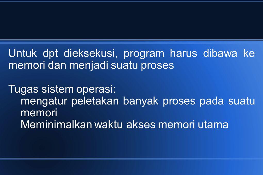 Untuk dpt dieksekusi, program harus dibawa ke memori dan menjadi suatu proses Tugas sistem operasi: mengatur peletakan banyak proses pada suatu memori