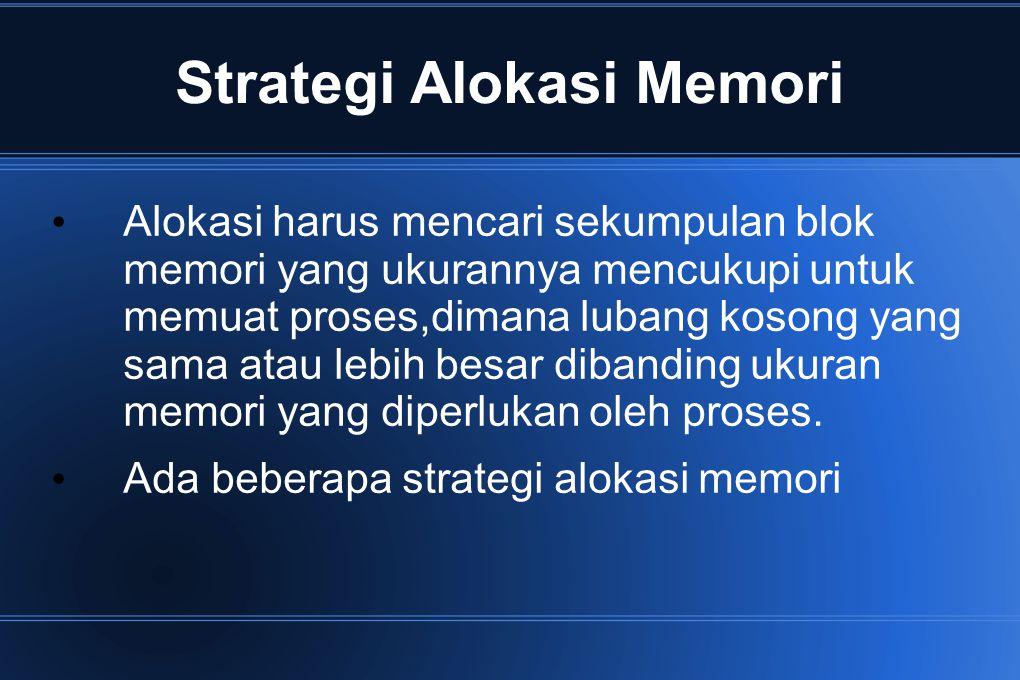 Strategi Alokasi Memori Alokasi harus mencari sekumpulan blok memori yang ukurannya mencukupi untuk memuat proses,dimana lubang kosong yang sama atau