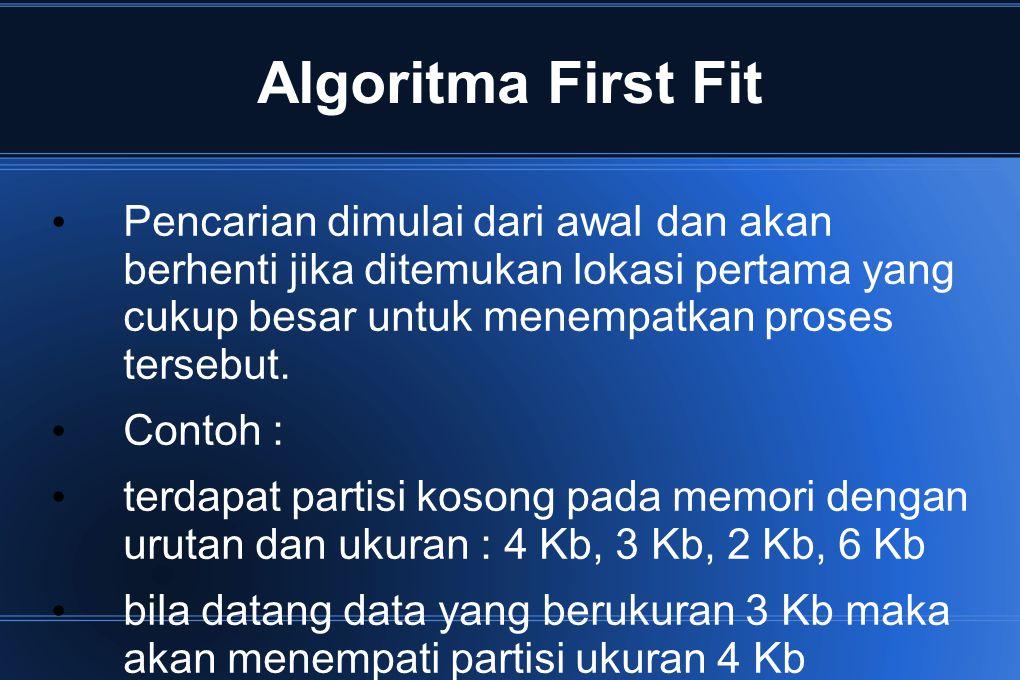 Algoritma Next-fit Sama dengan first-fit hanya saja pencarian tidak dimulai dari awal, tapi dari lokasi terakhir kali menemukan segmen yang cocok dan akan berhenti jika ditemukan lokasi pertama yang cukup besar untuk menempatkan proses tersebut Contoh : terdapat partisi pada memori dengan urutan dan ukuran : 4 Kb, 3 Kb, 2 Kb, 6 Kb bila datang data yang berukuran 3 Kb dan pencarian partisi dimulai dari urutan ketiga karena sebelumnya posisi terakhir pencarian di partisi kedua, maka data tersebut akan menempati partisi ukuran 6 Kb.