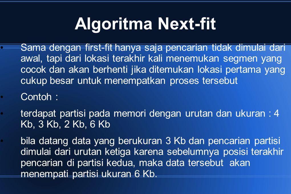 Algoritma Next-fit Sama dengan first-fit hanya saja pencarian tidak dimulai dari awal, tapi dari lokasi terakhir kali menemukan segmen yang cocok dan
