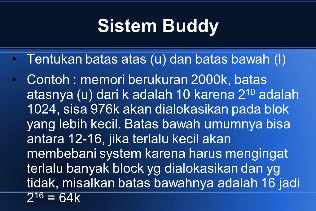 Sistem Buddy Tentukan batas atas (u) dan batas bawah (l) Contoh : memori berukuran 2000k, batas atasnya (u) dari k adalah 10 karena 2 10 adalah 1024,