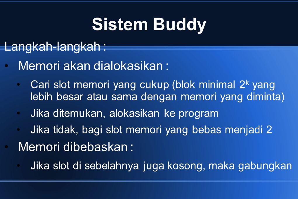 Sistem Buddy Langkah-langkah : Memori akan dialokasikan : Cari slot memori yang cukup (blok minimal 2 k yang lebih besar atau sama dengan memori yang