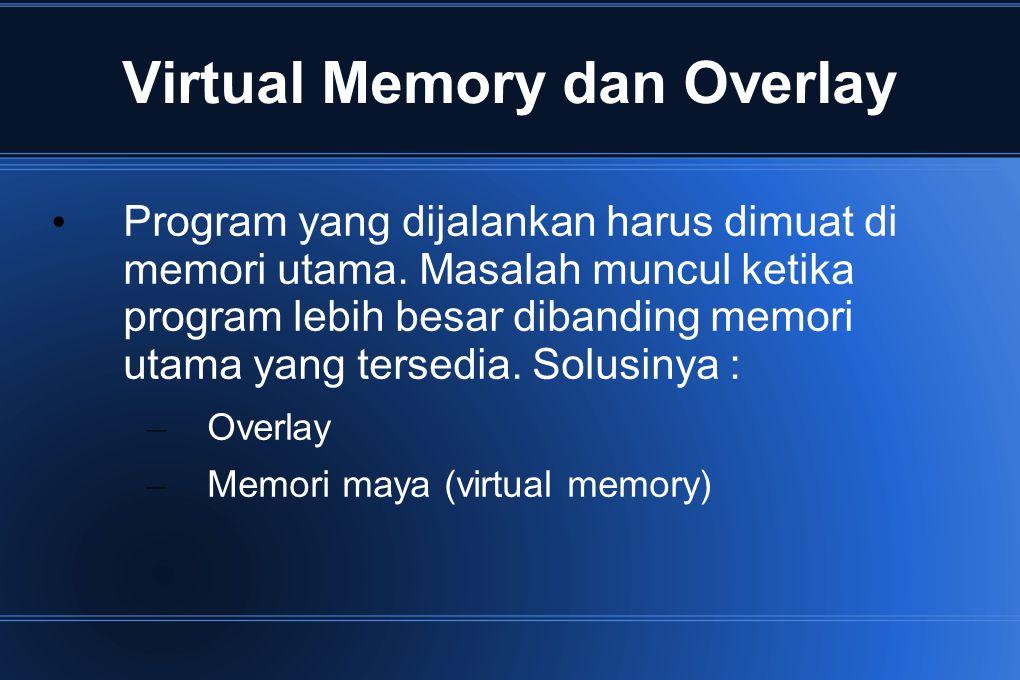 Virtual Memory dan Overlay Program yang dijalankan harus dimuat di memori utama. Masalah muncul ketika program lebih besar dibanding memori utama yang