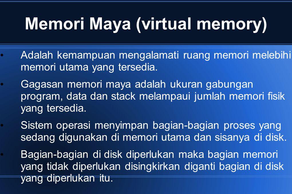 Memory Maya (virtual memory) Contoh : Program 10 Mbyte dapat berjalan di mesin 2 Mbyte, yaitu memilih bagian proses sebesar 2 Mbyte secara hati-hati dan ditaruh di memori.