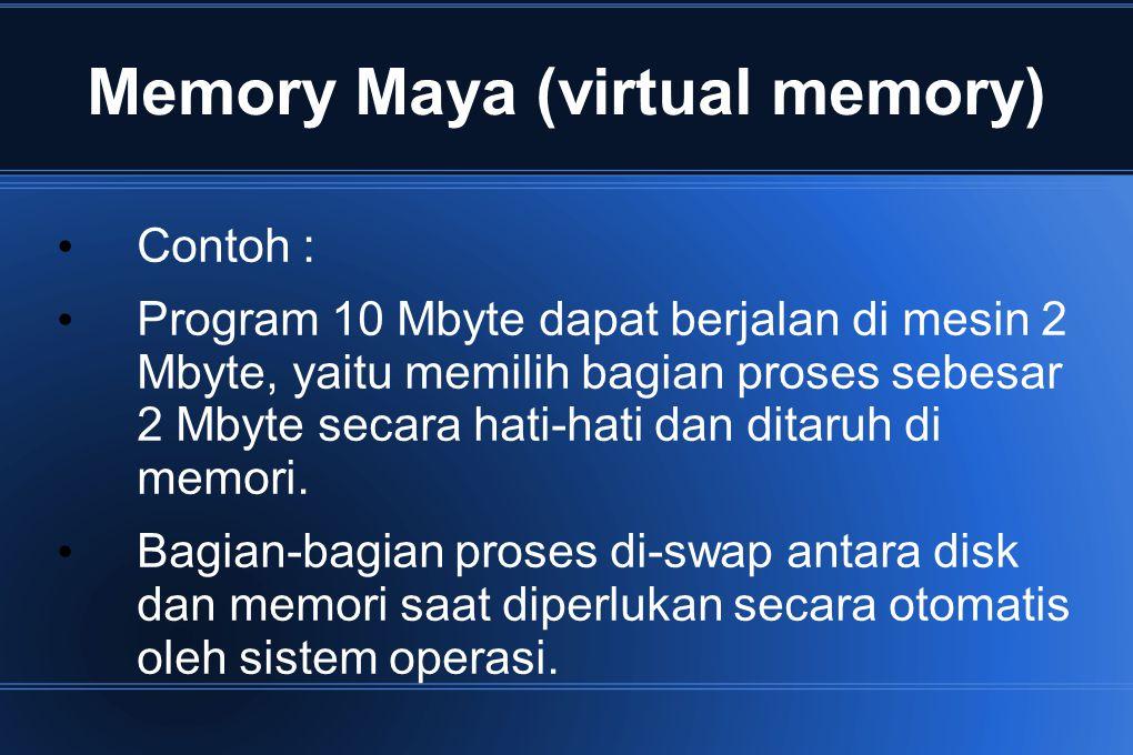 Memory Maya (virtual memory) Contoh : Program 10 Mbyte dapat berjalan di mesin 2 Mbyte, yaitu memilih bagian proses sebesar 2 Mbyte secara hati-hati d