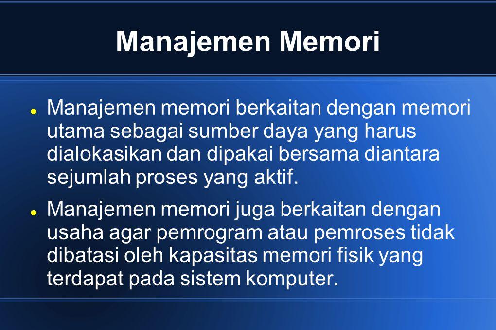 Fungsi Manajemen Memori mengelola informasi memori yang terpakai dan yang tidak terpakai mengalokasikan memori ke proses yang memerlukan mendealokasikan memori dari proses telah selesai mengelola swapping antara memori utama dan disk