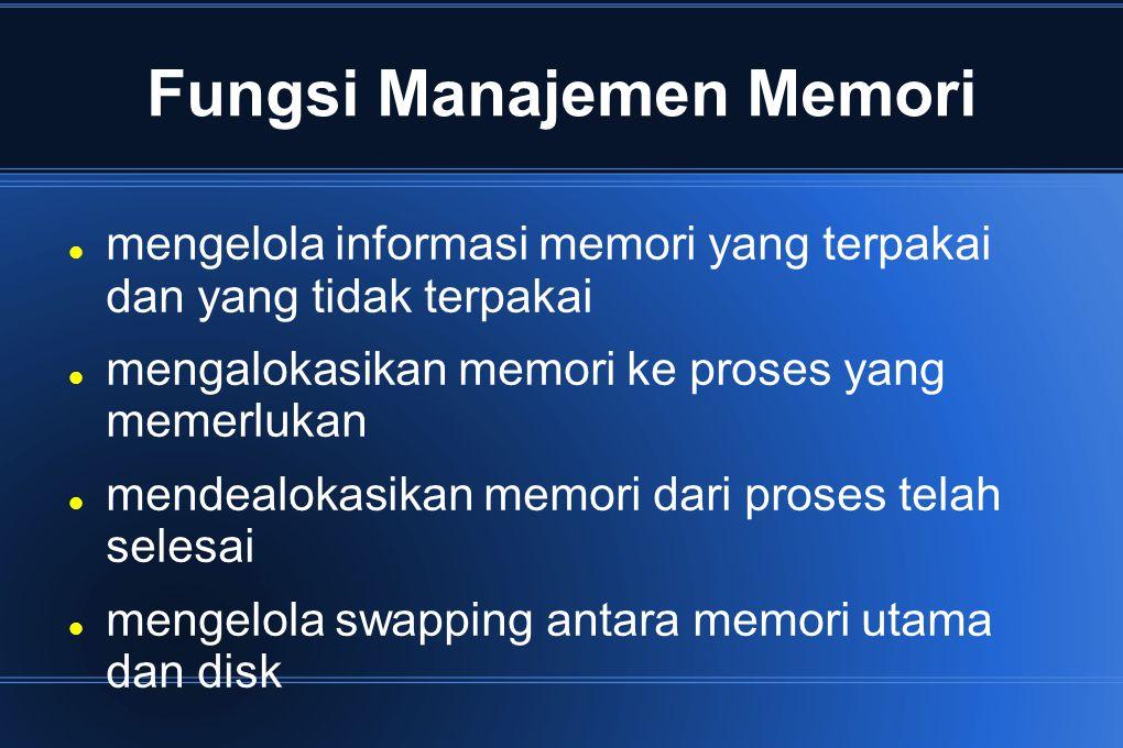 Swapping Suatu proses dapat dialihkan sementara dari memori ke suatu tempat penyimpanan dan dipanggil kembali ke memori jika akan melanjutkan eksekusi.