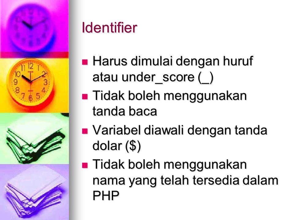 Identifier Harus dimulai dengan huruf atau under_score (_) Harus dimulai dengan huruf atau under_score (_) Tidak boleh menggunakan tanda baca Tidak boleh menggunakan tanda baca Variabel diawali dengan tanda dolar ($) Variabel diawali dengan tanda dolar ($) Tidak boleh menggunakan nama yang telah tersedia dalam PHP Tidak boleh menggunakan nama yang telah tersedia dalam PHP