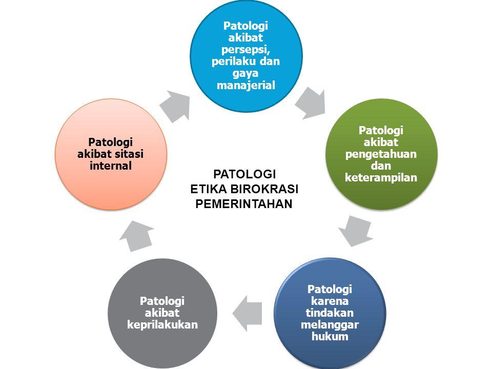Patologi akibat persepsi, perilaku dan gaya manajerial Patologi akibat pengetahuan dan keterampilan Patologi karena tindakan melanggar hukum Patologi