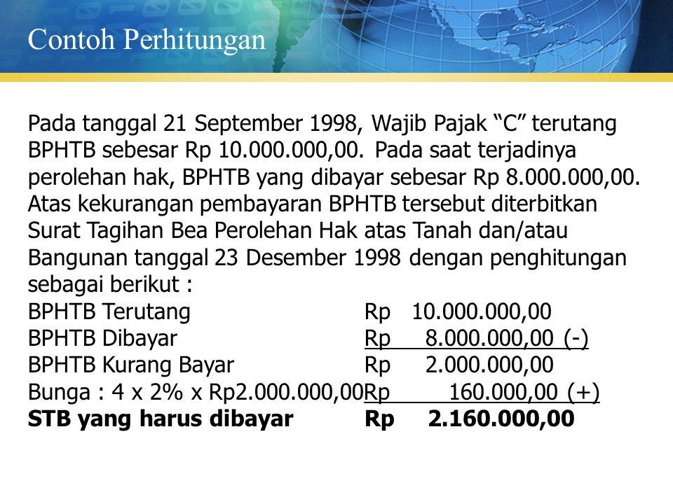 """Pada tanggal 21 September 1998, Wajib Pajak """"C"""" terutang BPHTB sebesar Rp 10.000.000,00. Pada saat terjadinya perolehan hak, BPHTB yang dibayar sebesa"""