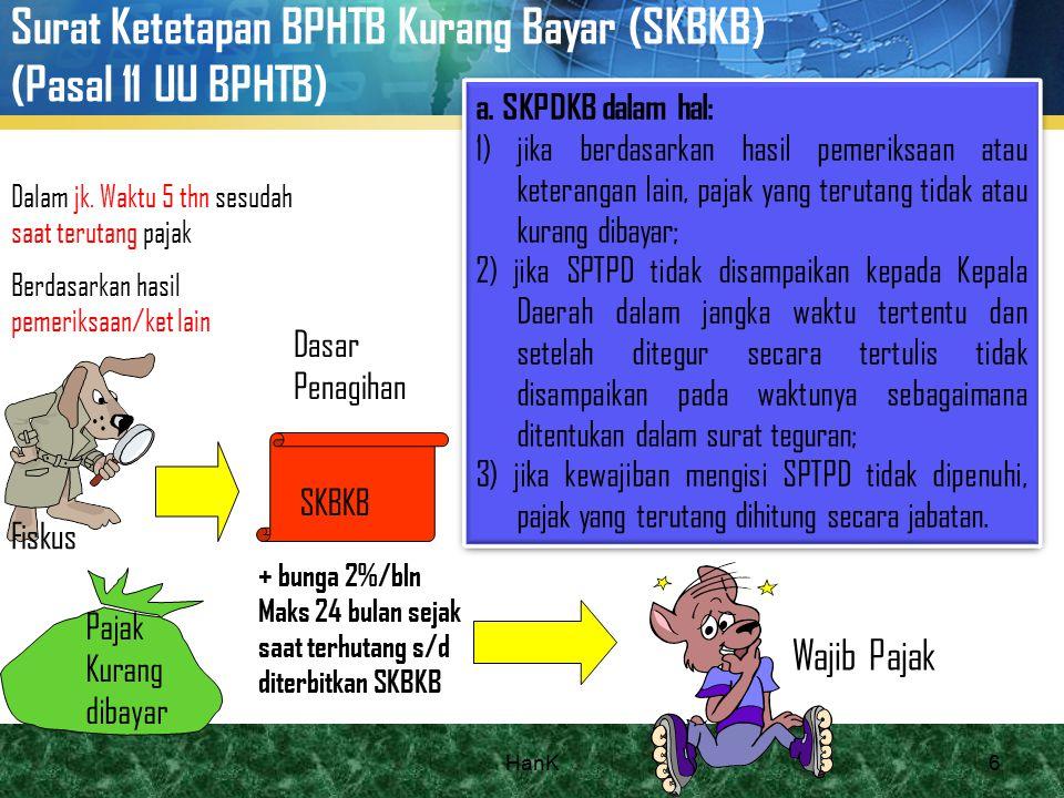 Surat Ketetapan BPHTB Kurang Bayar (SKBKB) (Pasal 11 UU BPHTB) Pajak Kurang dibayar SKBKB + bunga 2%/bln Maks 24 bulan sejak saat terhutang s/d diterb