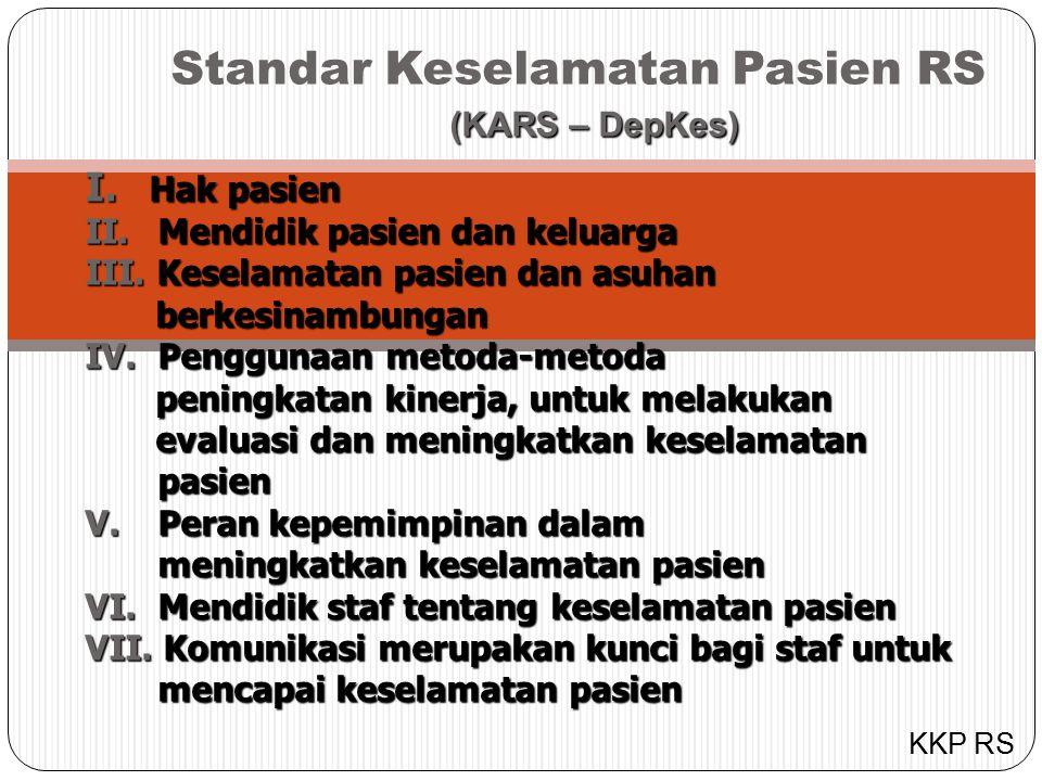 Standar Keselamatan Pasien RS (KARS – DepKes) (KARS – DepKes) I.