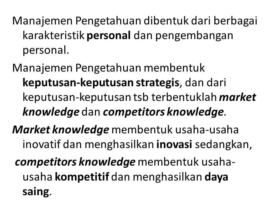 Manajemen Pengetahuan dibentuk dari berbagai karakteristik personal dan pengembangan personal.