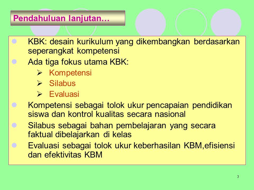 3 Pendahuluan lanjutan… KBK: desain kurikulum yang dikembangkan berdasarkan seperangkat kompetensi Ada tiga fokus utama KBK:  Kompetensi  Silabus 
