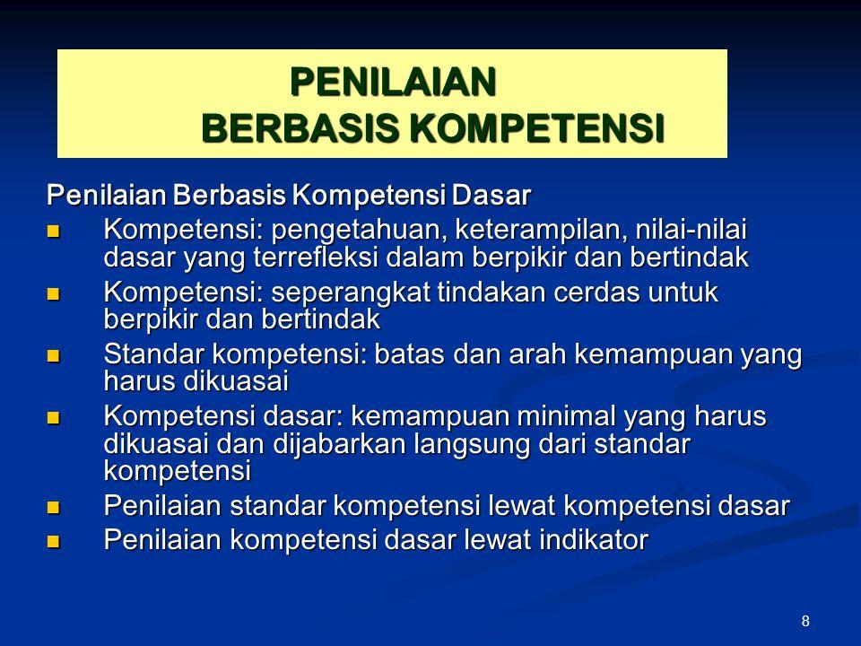 8 PENILAIAN BERBASIS KOMPETENSI Penilaian Berbasis Kompetensi Dasar Kompetensi: pengetahuan, keterampilan, nilai-nilai dasar yang terrefleksi dalam be