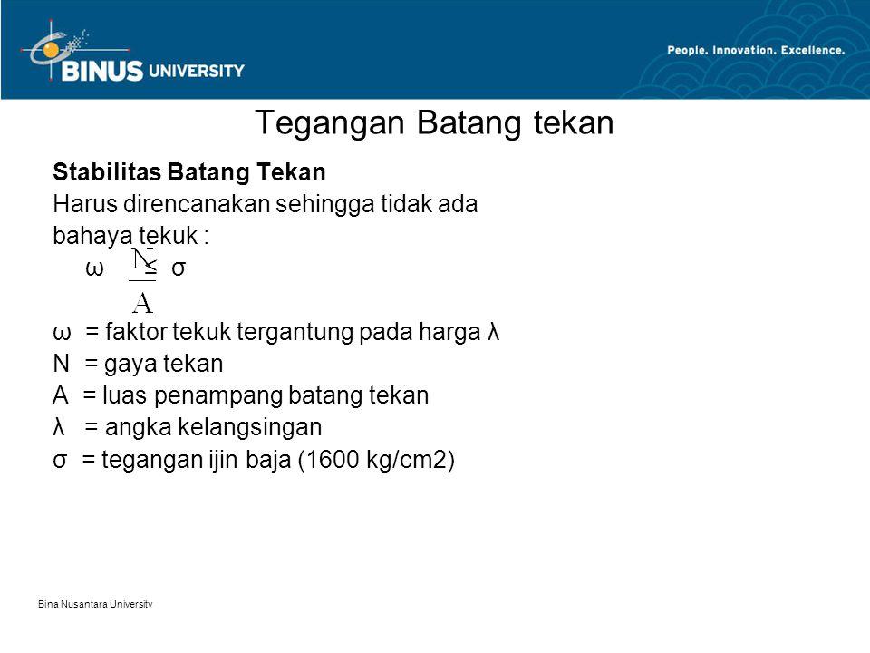 Bina Nusantara University Tegangan Batang tekan Stabilitas Batang Tekan Harus direncanakan sehingga tidak ada bahaya tekuk : ω ≤ σ ω = faktor tekuk te