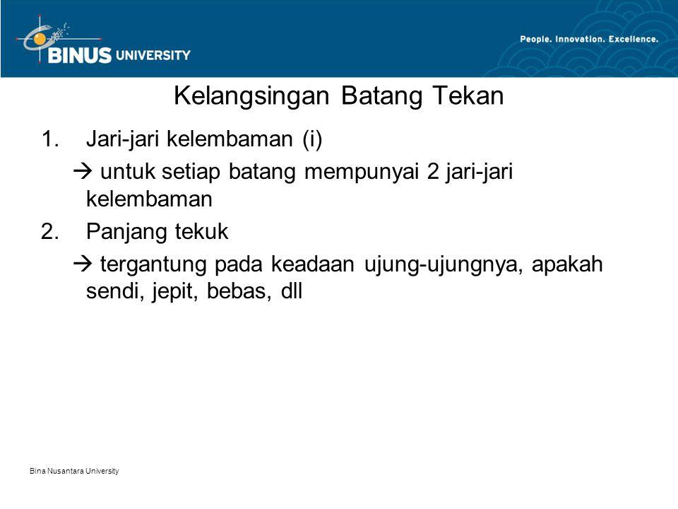 Bina Nusantara University Kelangsingan Batang Tekan 1.Jari-jari kelembaman (i)  untuk setiap batang mempunyai 2 jari-jari kelembaman 2.Panjang tekuk
