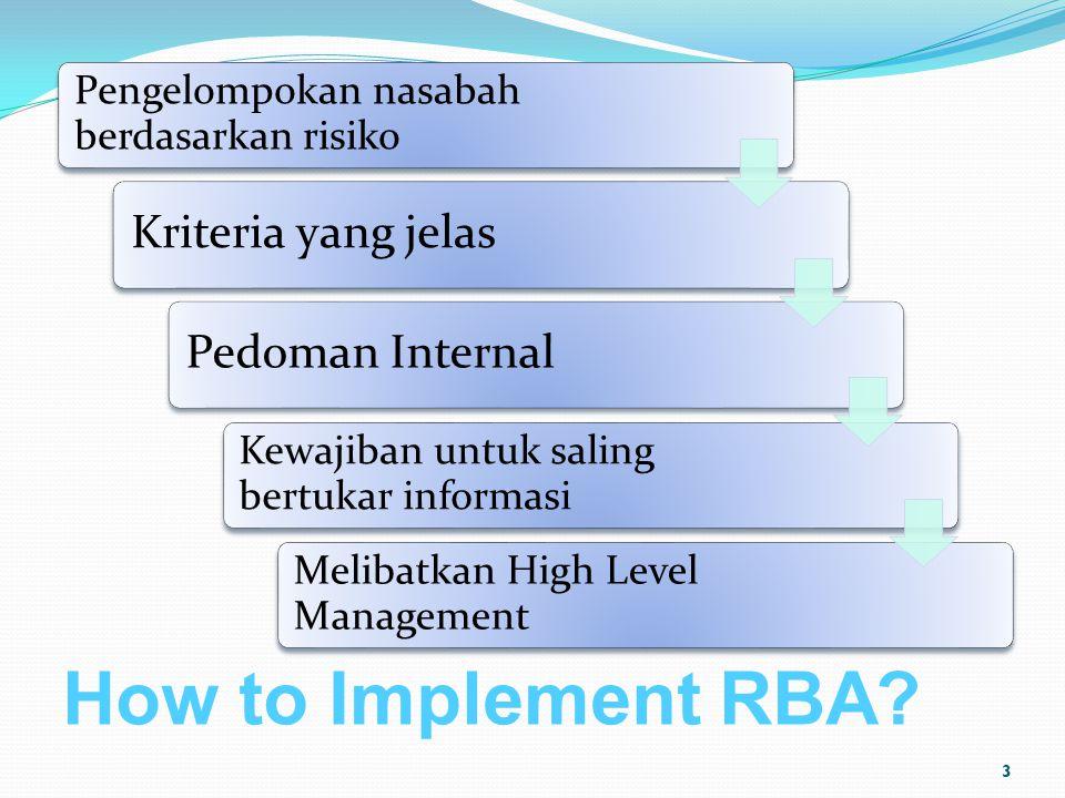How to Implement RBA? Pengelompokan nasabah berdasarkan risiko Kriteria yang jelasPedoman Internal Kewajiban untuk saling bertukar informasi Melibatka