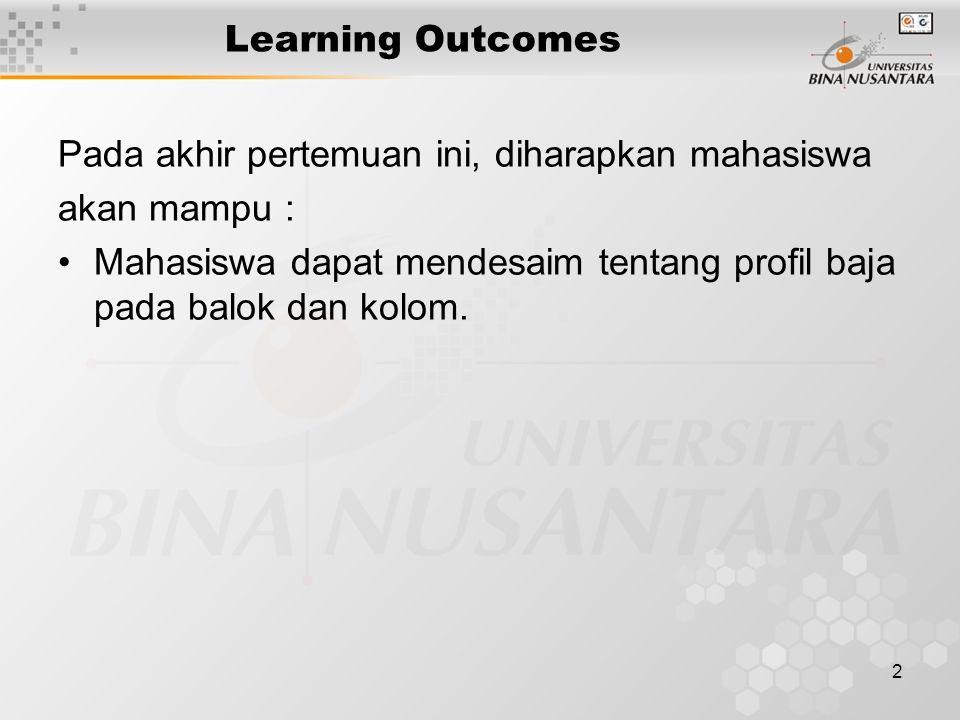 2 Learning Outcomes Pada akhir pertemuan ini, diharapkan mahasiswa akan mampu : Mahasiswa dapat mendesaim tentang profil baja pada balok dan kolom.