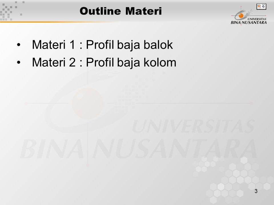 3 Outline Materi Materi 1 : Profil baja balok Materi 2 : Profil baja kolom