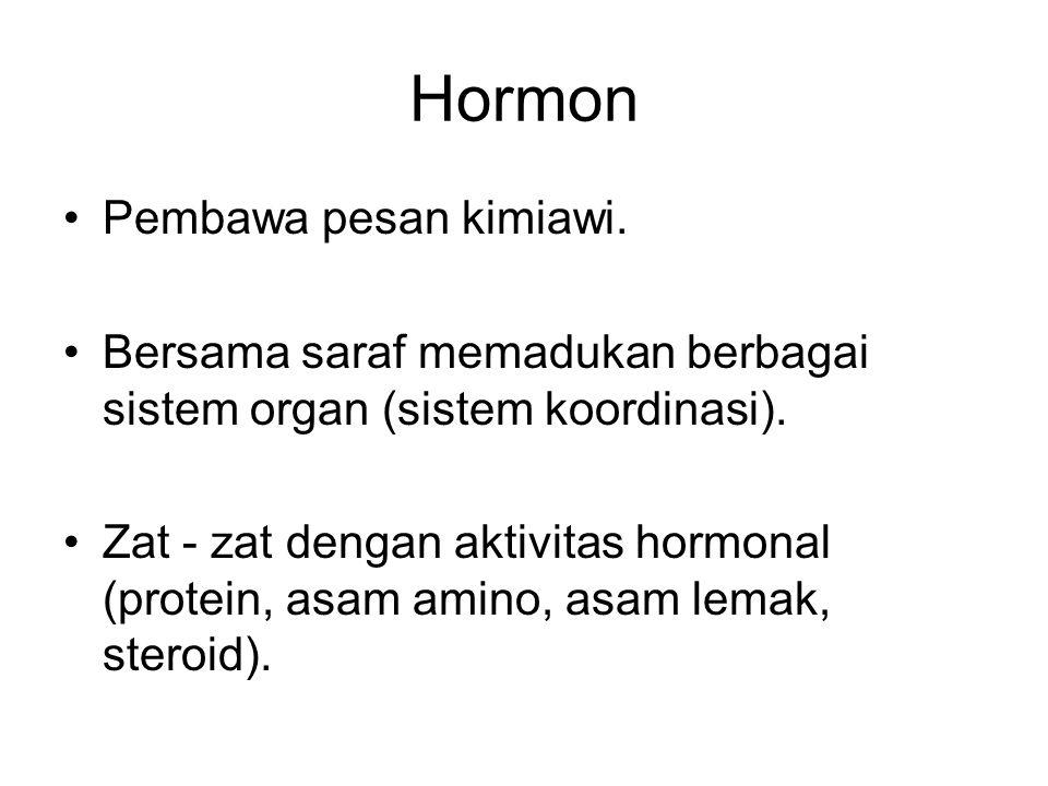 Hormon Pembawa pesan kimiawi. Bersama saraf memadukan berbagai sistem organ (sistem koordinasi). Zat - zat dengan aktivitas hormonal (protein, asam am