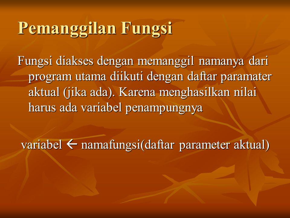Pemanggilan Fungsi Fungsi diakses dengan memanggil namanya dari program utama diikuti dengan daftar paramater aktual (jika ada). Karena menghasilkan n