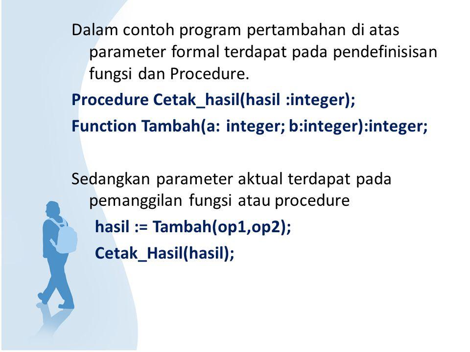 Dalam contoh program pertambahan di atas parameter formal terdapat pada pendefinisisan fungsi dan Procedure. Procedure Cetak_hasil(hasil :integer); Fu
