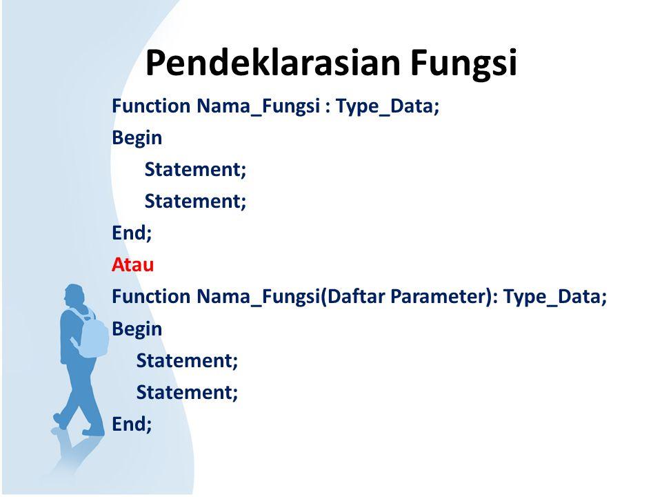Pendeklarasian Fungsi Function Nama_Fungsi : Type_Data; Begin Statement; End; Atau Function Nama_Fungsi(Daftar Parameter): Type_Data; Begin Statement;