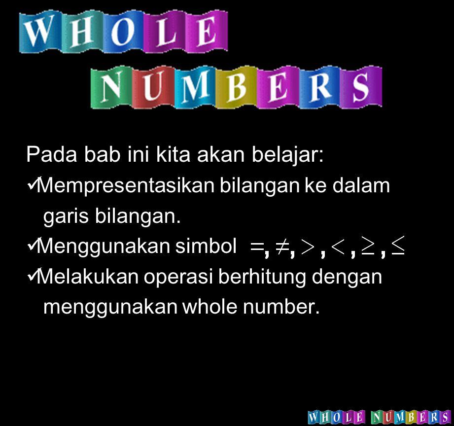 Pada bab ini kita akan belajar: Mempresentasikan bilangan ke dalam garis bilangan. Menggunakan simbol Melakukan operasi berhitung dengan menggunakan w