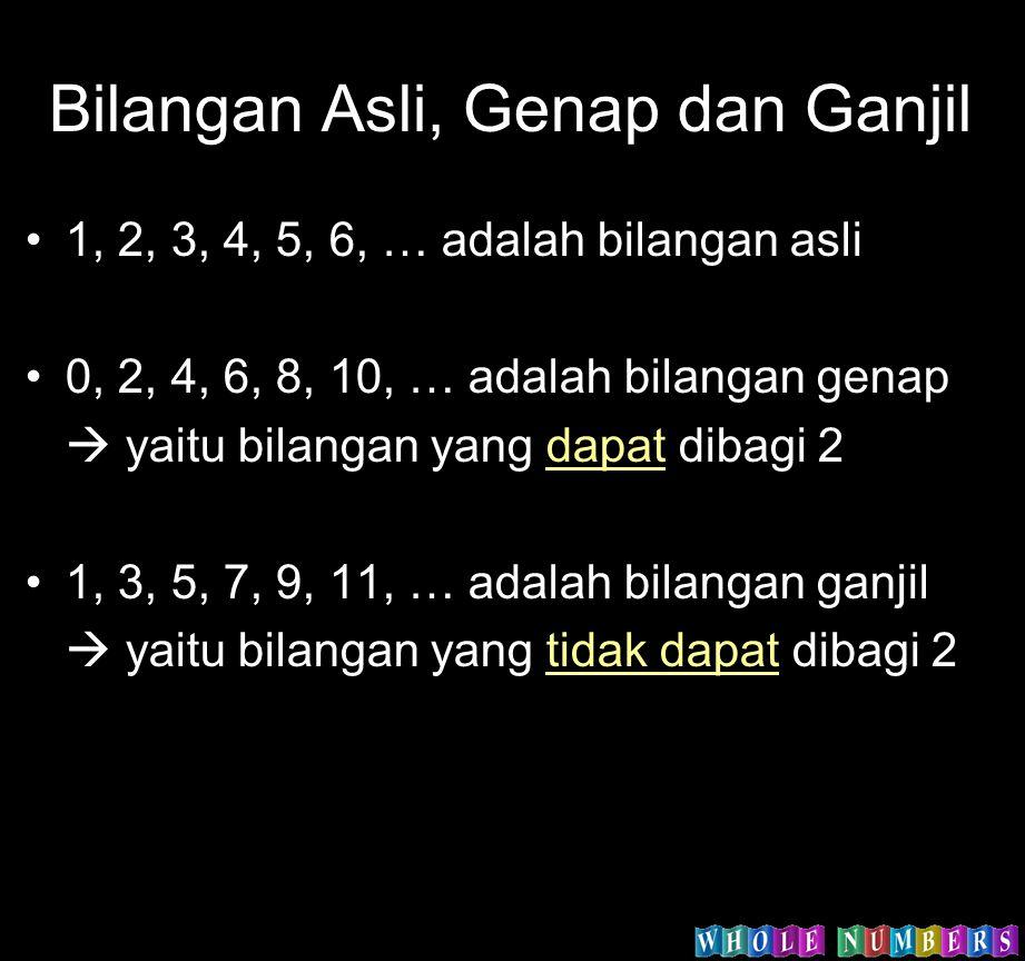 Bilangan Asli, Genap dan Ganjil 1, 2, 3, 4, 5, 6, … adalah bilangan asli 0, 2, 4, 6, 8, 10, … adalah bilangan genap  yaitu bilangan yang dapat dibagi