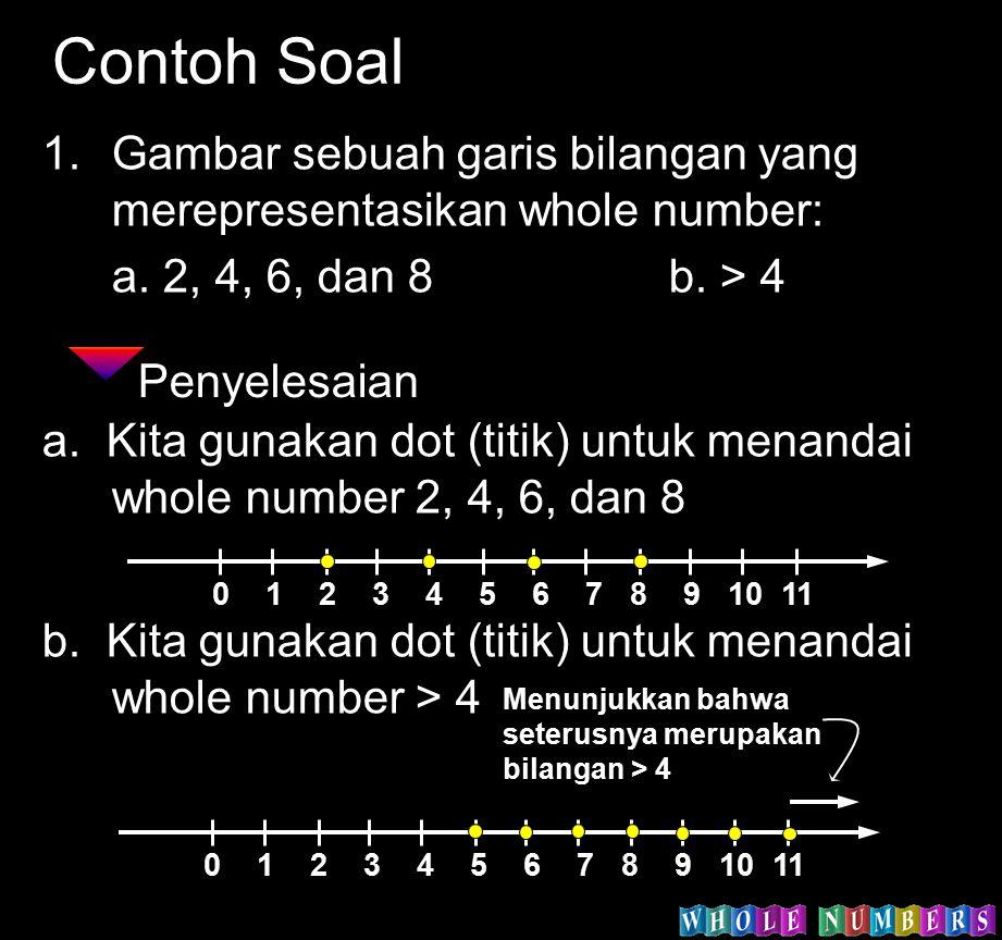 Contoh Soal 1.Gambar sebuah garis bilangan yang merepresentasikan whole number: a. 2, 4, 6, dan 8b. > 4 Penyelesaian a. Kita gunakan dot (titik) untuk