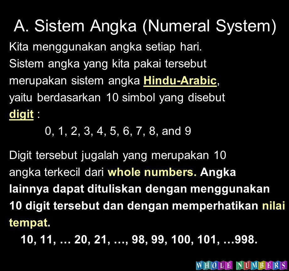 A. Sistem Angka (Numeral System) Kita menggunakan angka setiap hari. Sistem angka yang kita pakai tersebut merupakan sistem angka Hindu-Arabic, yaitu